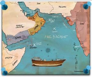 carte du voyage en mer d'Arabie